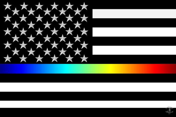 Full Spectrum Rainbow Line Flag - Larry Nader Photography & Art