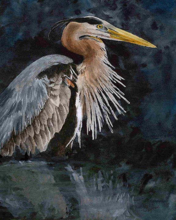 Great Blue Heron - Patagonia Watercolors