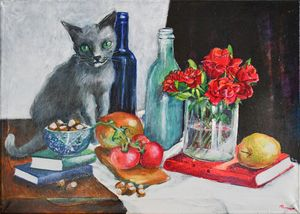 Stillife with cat