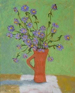 Purple Daisies in Red Vase