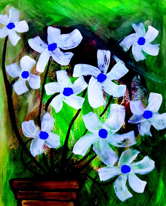 white flowers in a pot - Karthick's Gallery