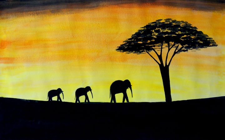 Sun Set and Elephants - Karthick's Gallery
