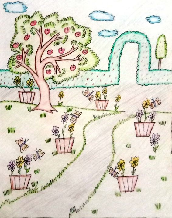 Garden with Unique Colour Pattern - Prags Artwork