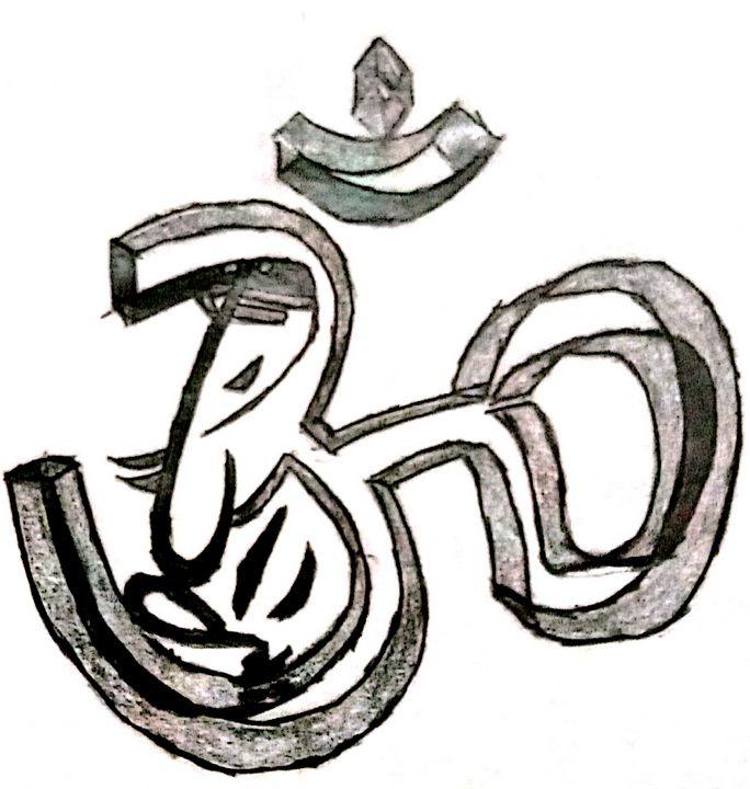 Om with Lord Ganesha - Prags Artwork