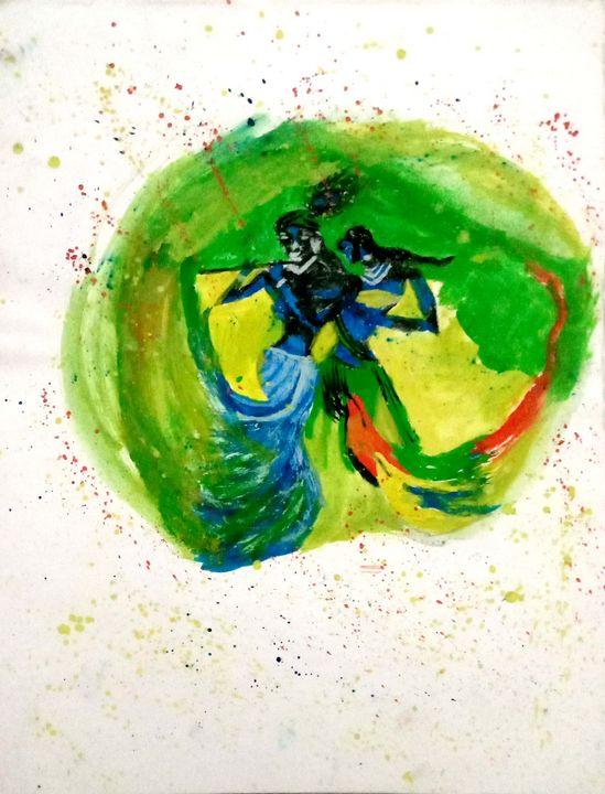 Lord Krishna with Lordess Radha. - Prags Artwork