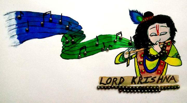 Lord Krishna with Flute - Prags Artwork