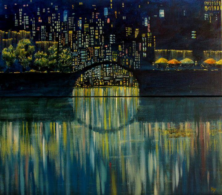 Evening in the big city (Diptych) - SergRoyArt