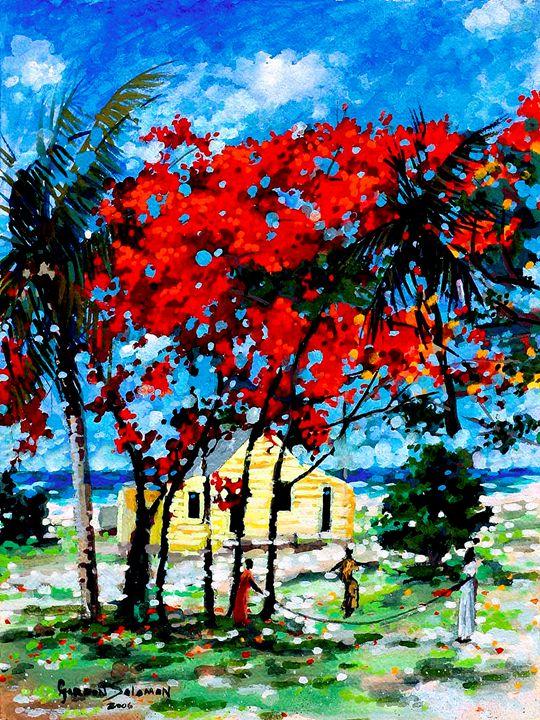 Poincianna in the yard 3 - Gordon Solomon Gallery