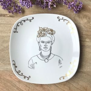 Frida Kahlo drawing with Gold - Hand Painted by Elika