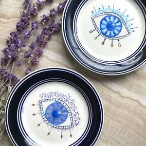 Evil Eye Salad Plate - Hand Painted by Elika