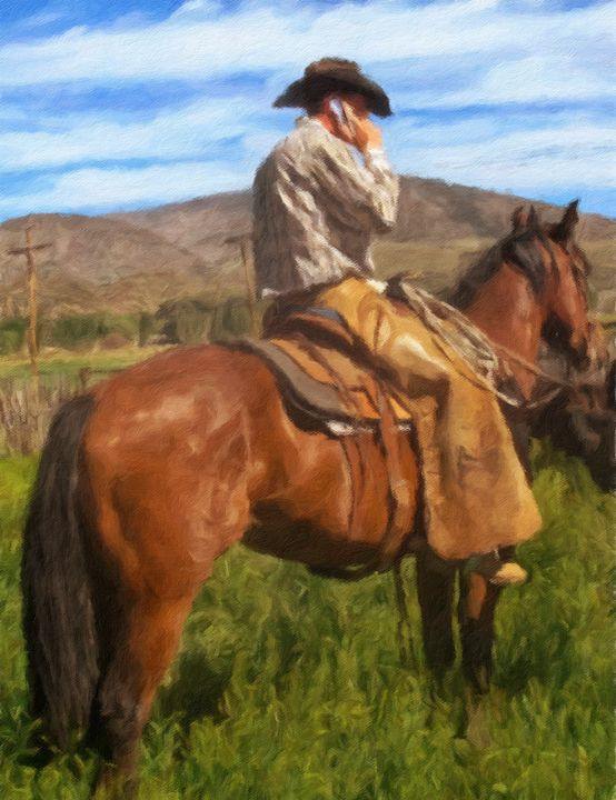 Modern Day Cowboy - Original and Photographic Art