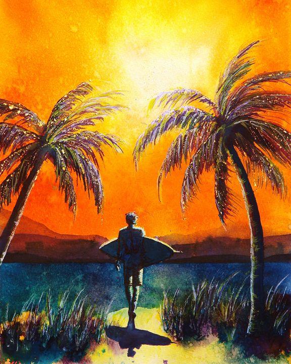 Sunset Surfer - Nelson Makes Art!