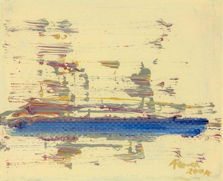 Blue Ship - Audrey Flower Artist