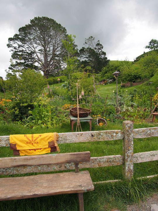 Garden bench, Hobbiton - Hobbiton, Matamata, New Zealand