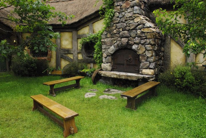 Benches at the Green Dragon - Hobbiton, Matamata, New Zealand