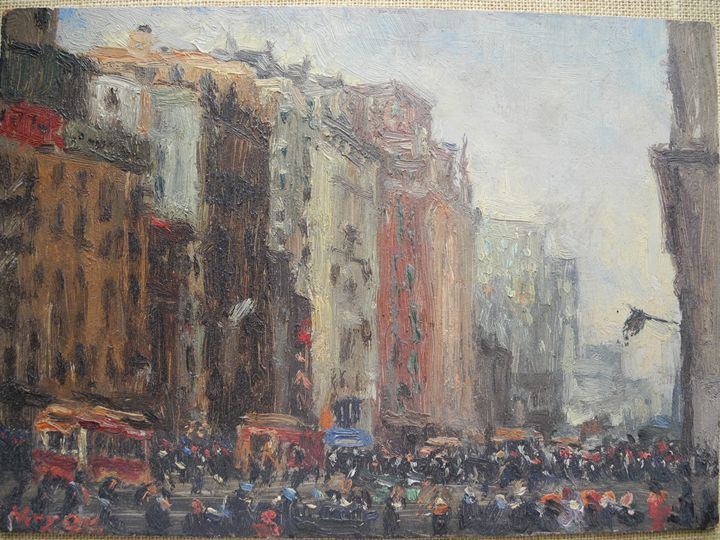 Ernest Meyer, Street scene - New England Art and Antiques