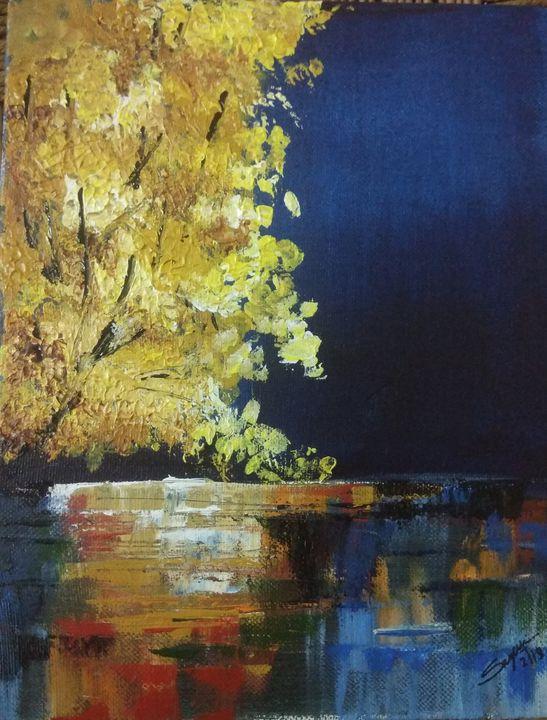 Autumn night by lake - Brush strokes