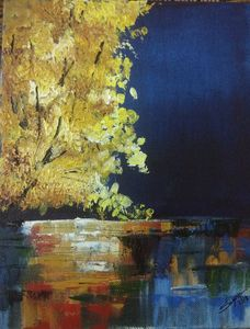Autumn night by lake