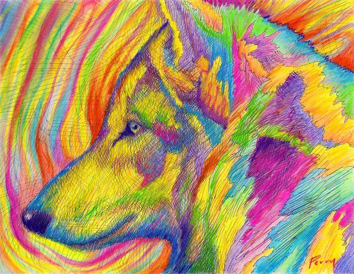 Aurora Wolf II - Nathan Perry Fine Art
