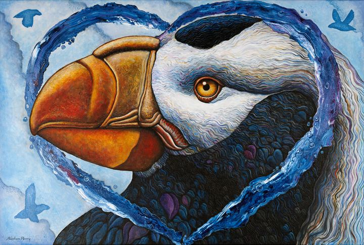 Tufted Puffin Love Bird - Nathan Perry Fine Art