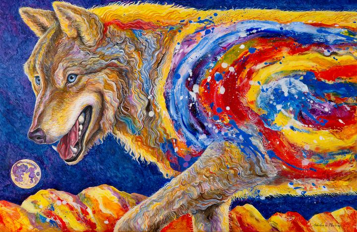 Wolf, Moon and Mountains - Nathan Perry Fine Art