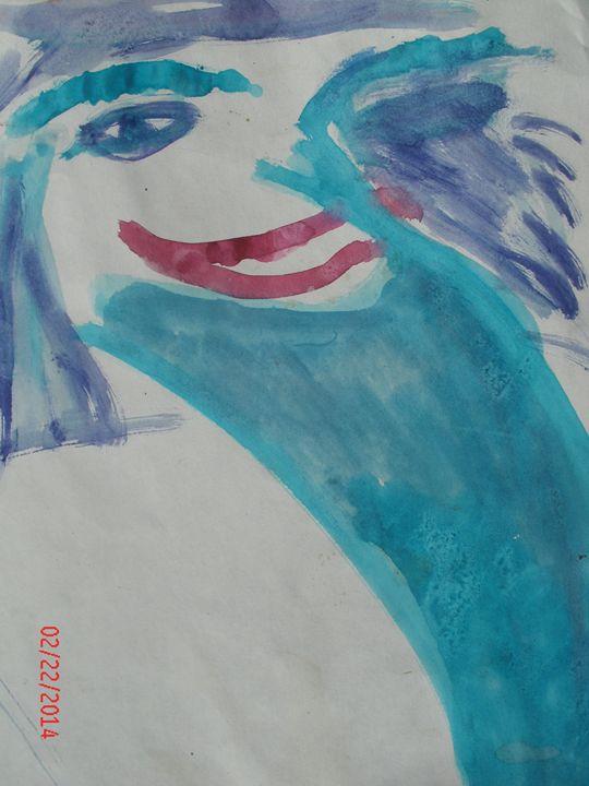 Blue Hair, eyebrows - KaraMariaMillerWaterColours