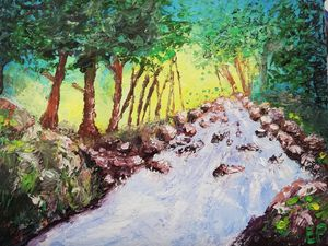 Printed forest oil painting