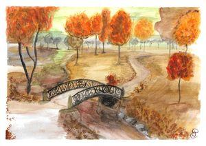 Printed autumn walk paint