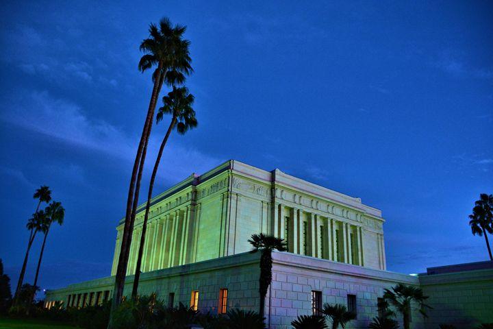 Mormon Temple At Night - Richard W. Jenkins Gallery