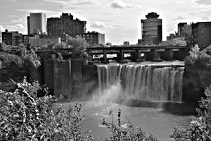 Genesee Falls Black White