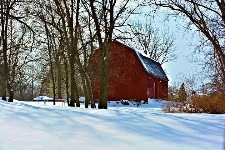 Vintage Red Barn in Snow - Richard W. Jenkins Gallery