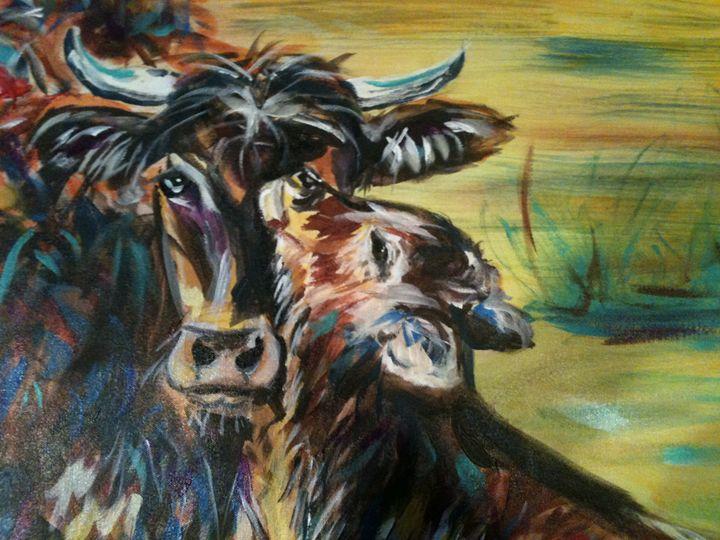 bovine love - Krazy Kanvas by Susan Monika