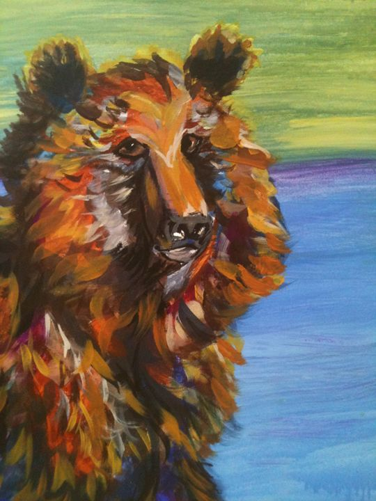 bear blue - Krazy Kanvas by Susan Monika