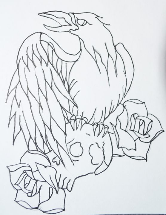 Crow and skull tattoo outline - Steph Stark