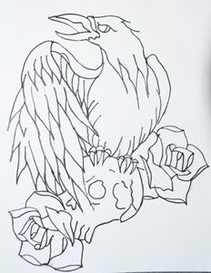 Crow and skull tattoo outline