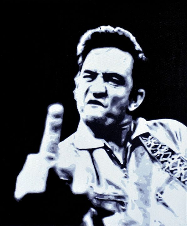 Johnny Cash, acrylics, canvas - Manq