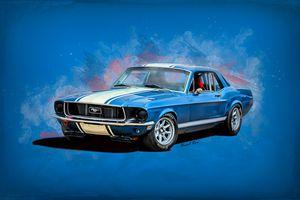 Blue 1968 Mustang
