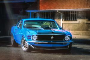 Blue 1970 Ford Mustang