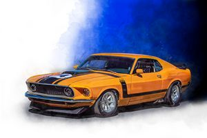 Orange Boss 302 Mustang