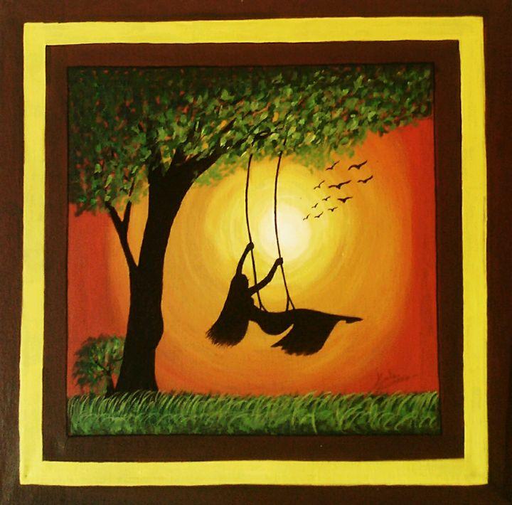 Girl swinging in the garden - SSK Art Gallery