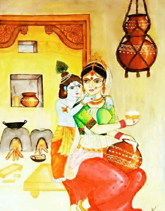 yashoda with little krishna - SSK Art Gallery