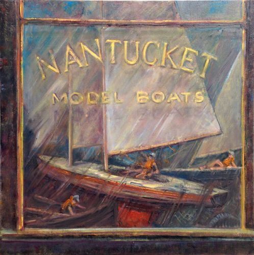 Model Boat Shop Nantucket 24x24in. - New York Art Collection | Hall Groat Sr. & II