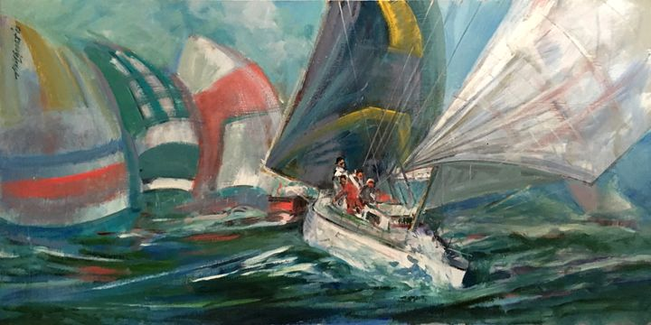 America's Cup Yacht Race 24x48 in. - New York Art Collection | Hall Groat Sr. & II
