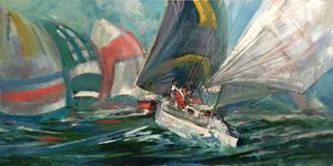 America's Cup Yacht Race 24x48 in. - New York Art Collection   Hall Groat Sr. & II