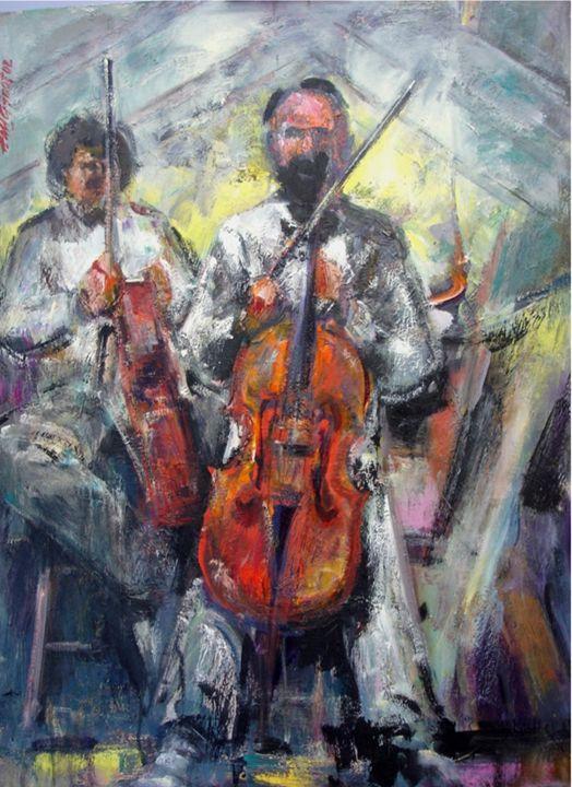 Boston Symphony Cellist - Tanglewood - New York Art Collection   Hall Groat Sr. & II