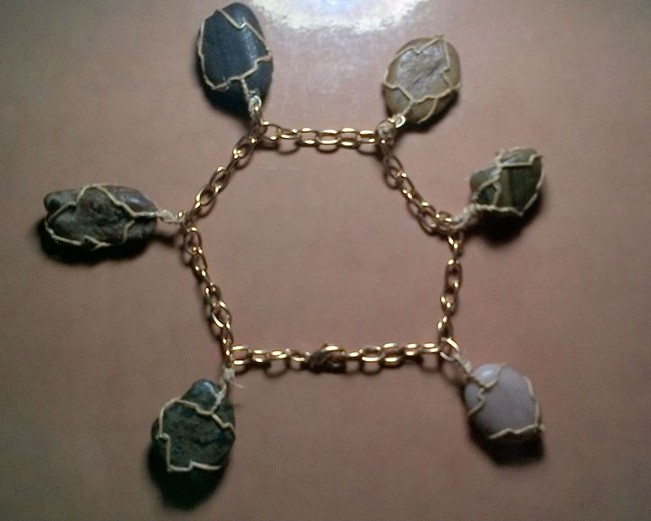wrapped stone bracelet - Fletcher's Fantasy Art and Accessories