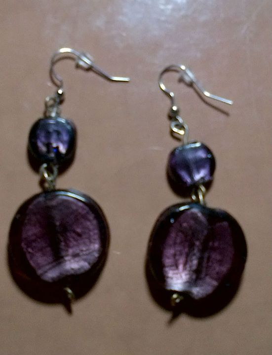 Purple two tone Earrings - Fletcher's Fantasy Art and Accessories