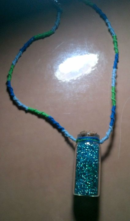 vial necklace- blue green - Fletcher's Fantasy Art and Accessories