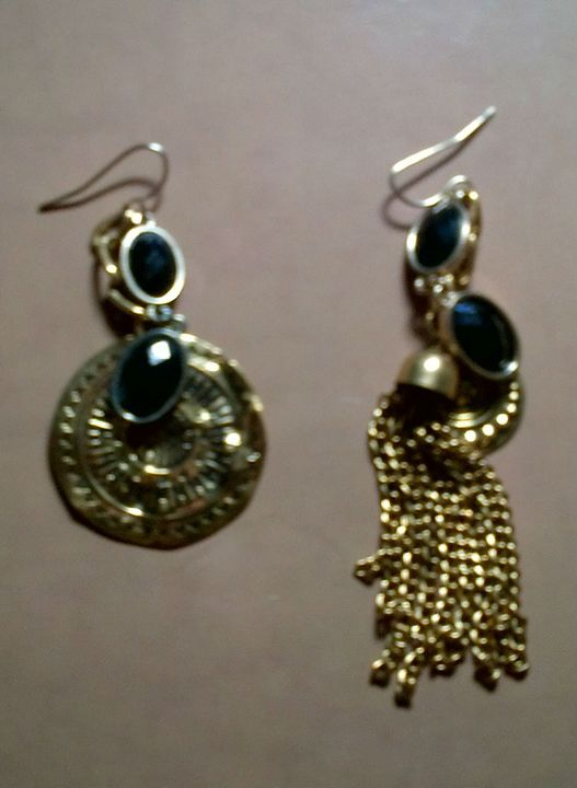 Gold Mis-match Earrings - Fletcher's Fantasy Art and Accessories