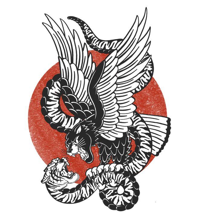 Tiger Snake Vs Panther Hawk - Tyler Genovese Art